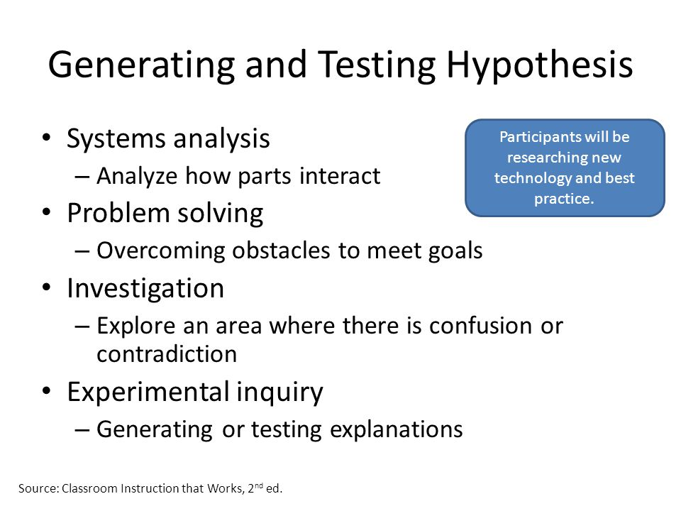 Generating and Testing Hypothesis Systems analysis – Analyze how parts interact Problem solving – Overcoming obstacles to meet goals Investigation – E
