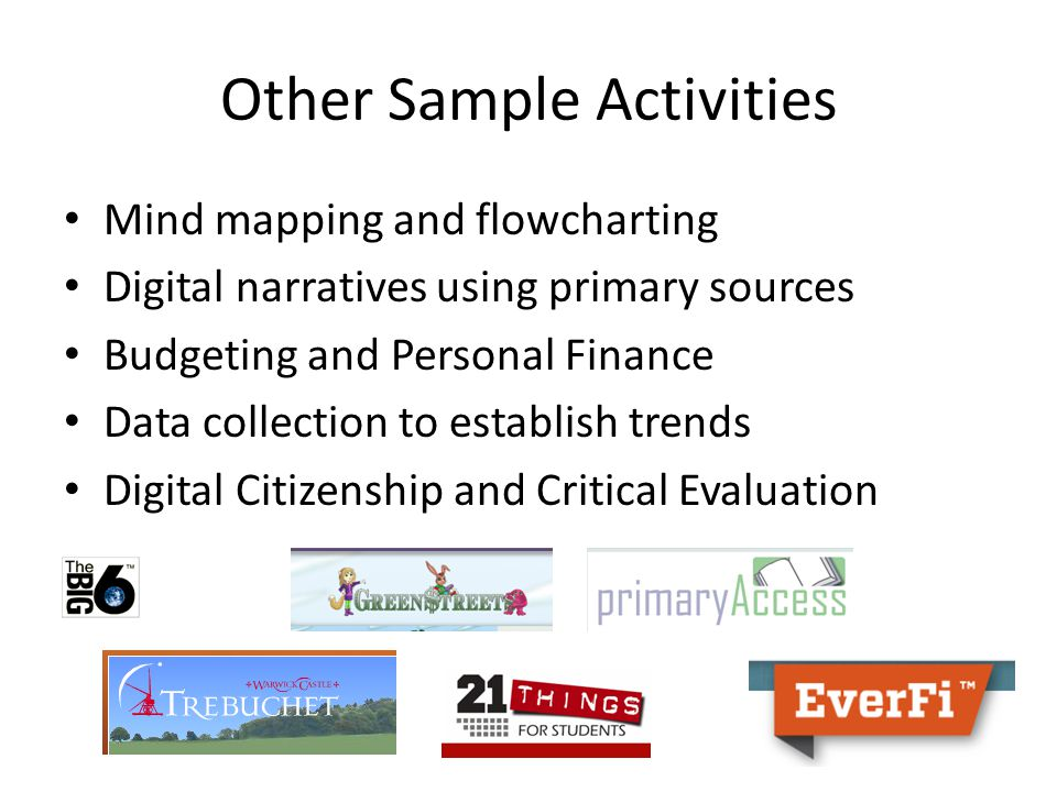 Other Sample Activities Mind mapping and flowcharting Digital narratives using primary sources Budgeting and Personal Finance Data collection to estab