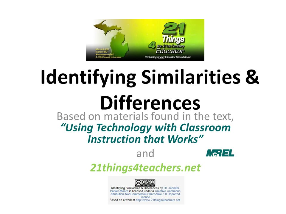 "Identifying Similarities & Differences Based on materials found in the text, ""Using Technology with Classroom Instruction that Works"" and 21things4tea"