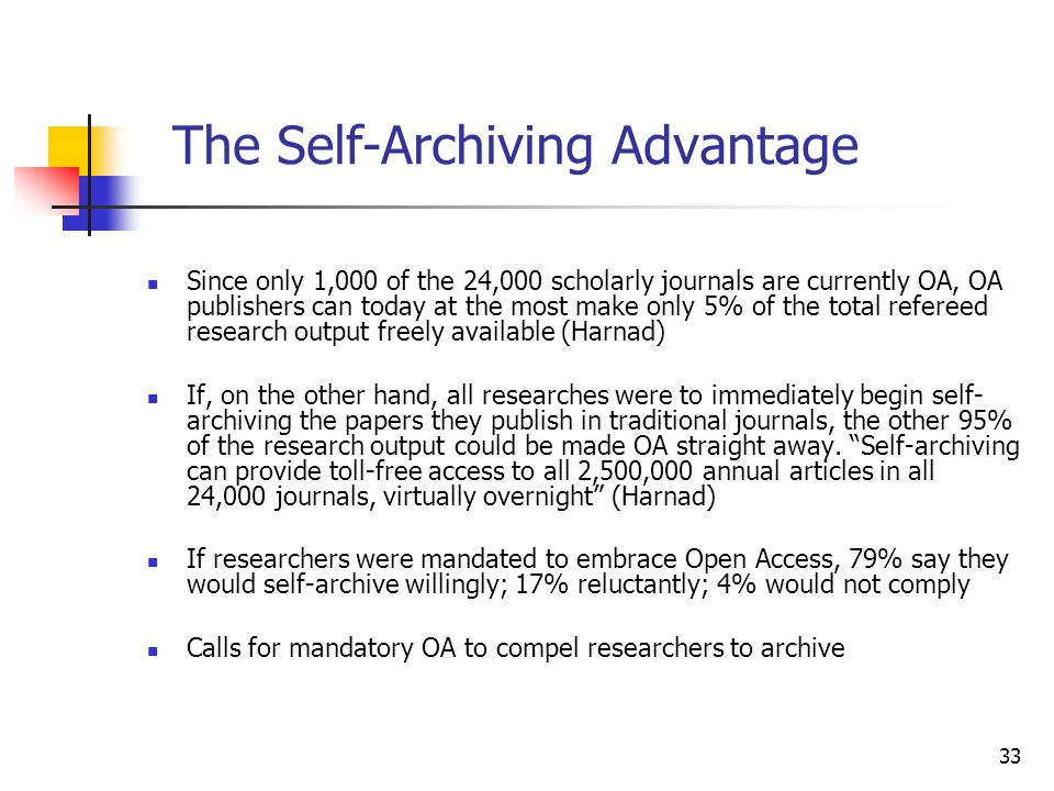 33 The Self-Archiving Advantage Since only 1,000 of the 24,000 scholarly journals are currently OA, OA publishers can today at the most make only 5% o