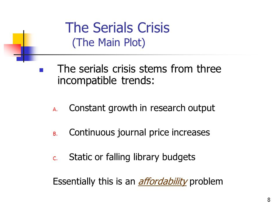 9 Trend A: Growth In Research Many blame the serials crisis on a post-war research explosion, BUT In 1956 D.