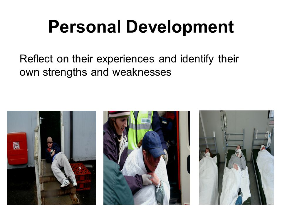 Personal Development Reflect on their experiences and identify their own strengths and weaknesses