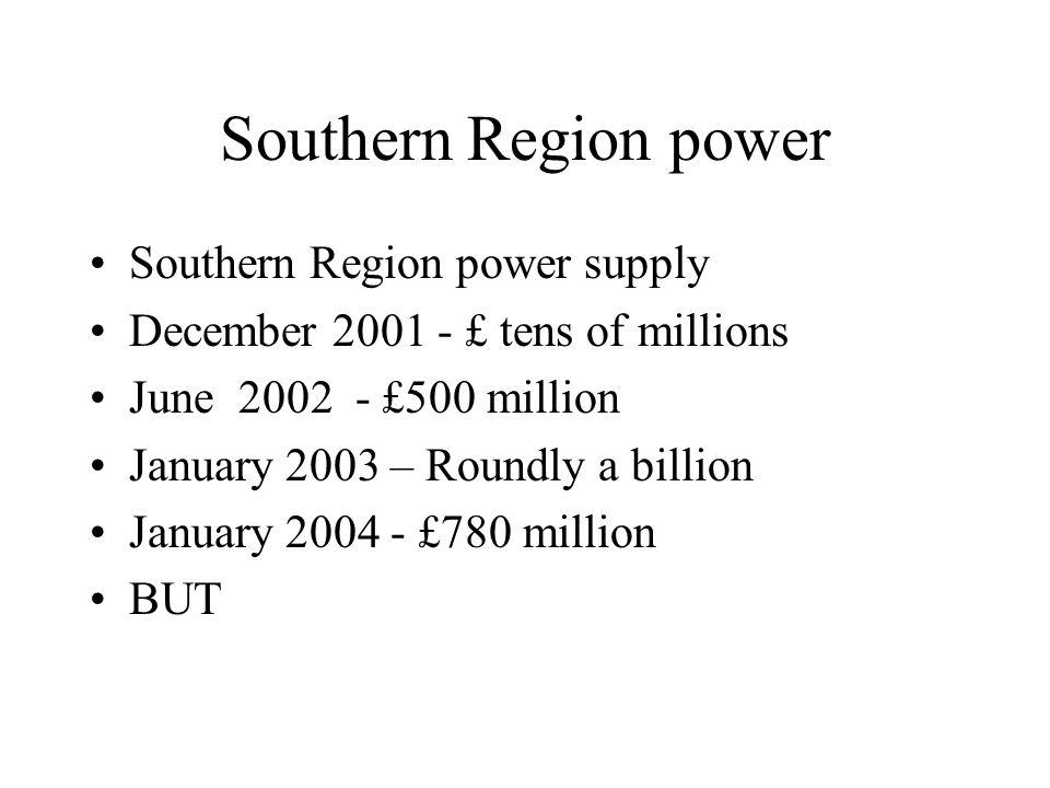 Southern Region power Southern Region power supply December 2001 - £ tens of millions June 2002 - £500 million January 2003 – Roundly a billion January 2004 - £780 million BUT