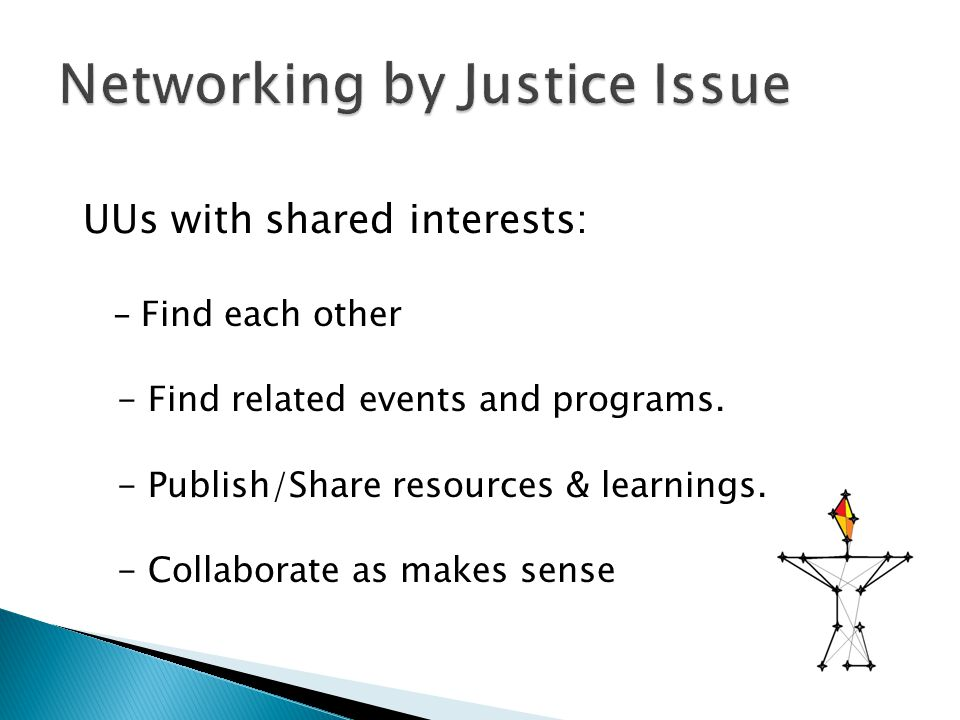 UUs with shared interests: - Find each other - Find related events and programs. - Publish/Share resources & learnings. - Collaborate as makes sense