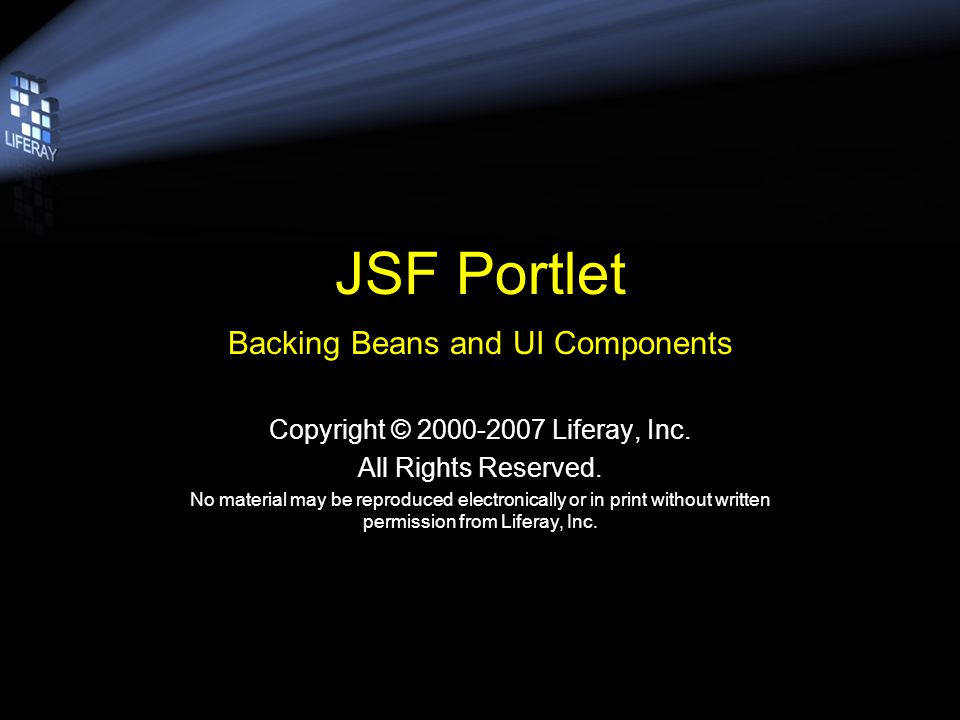 Objective 1.Add JSF UI Components –index.jsp 2.Register & create the Backing Bean with JSF –faces-config.xml 3.Bind Backing Bean Property to UI Component –index.jsp