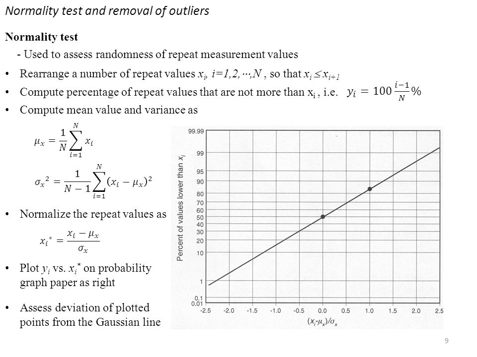 10 Normality tests and removal of outliers Outliers Spurious values due to (2) Temporary or intermittent undesirable input (1) human error, e.g.