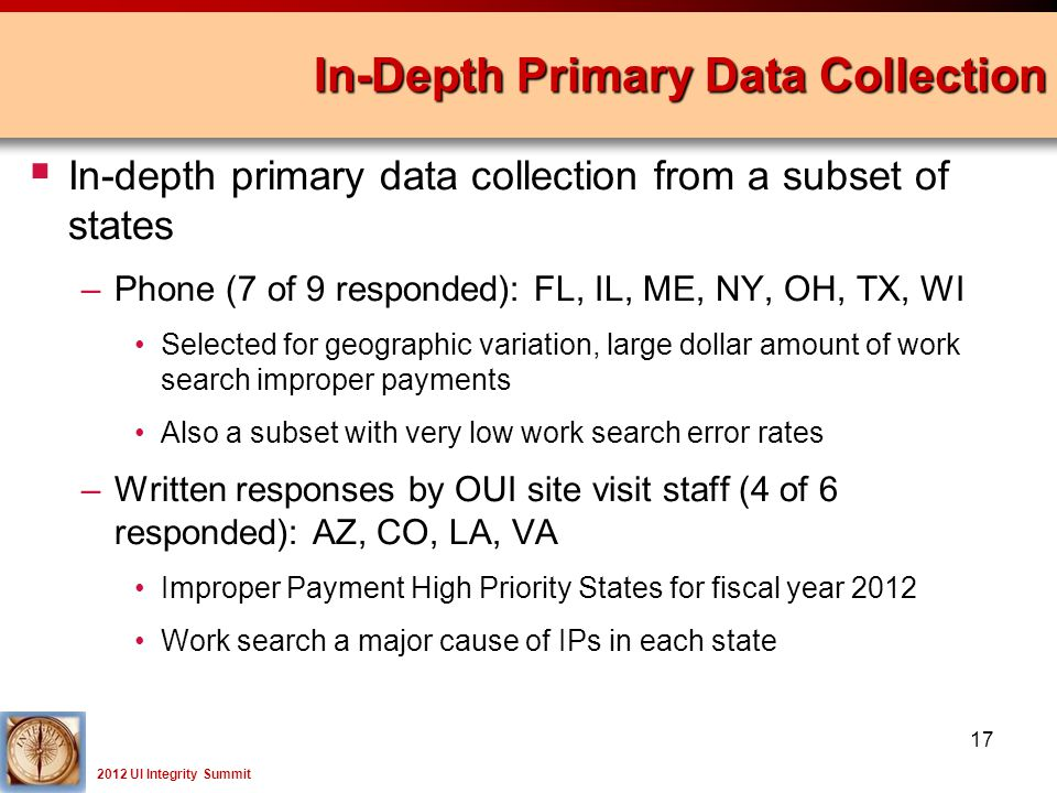 2012 UI Integrity Summit  In-depth primary data collection from a subset of states –Phone (7 of 9 responded): FL, IL, ME, NY, OH, TX, WI Selected for geographic variation, large dollar amount of work search improper payments Also a subset with very low work search error rates –Written responses by OUI site visit staff (4 of 6 responded): AZ, CO, LA, VA Improper Payment High Priority States for fiscal year 2012 Work search a major cause of IPs in each state In-Depth Primary Data Collection 17