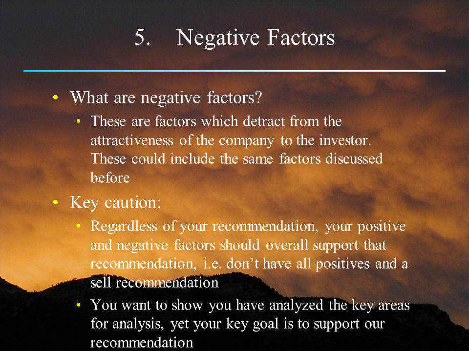 5.Negative Factors What are negative factors? These are factors which detract from the attractiveness of the company to the investor. These could incl