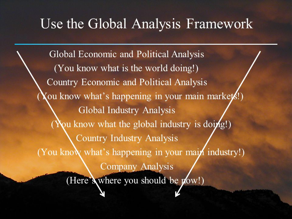 Use the Global Analysis Framework Global Economic and Political Analysis (You know what is the world doing!) Country Economic and Political Analysis (