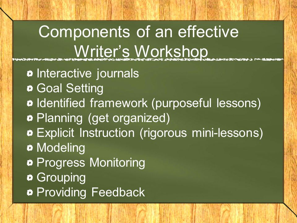 Components of an effective Writer's Workshop Interactive journals Goal Setting Identified framework (purposeful lessons) Planning (get organized) Explicit Instruction (rigorous mini-lessons) Modeling Progress Monitoring Grouping Providing Feedback