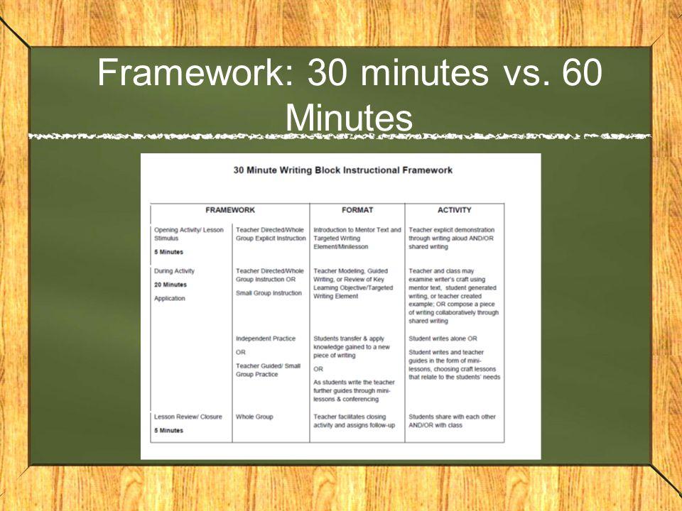 Framework: 30 minutes vs. 60 Minutes