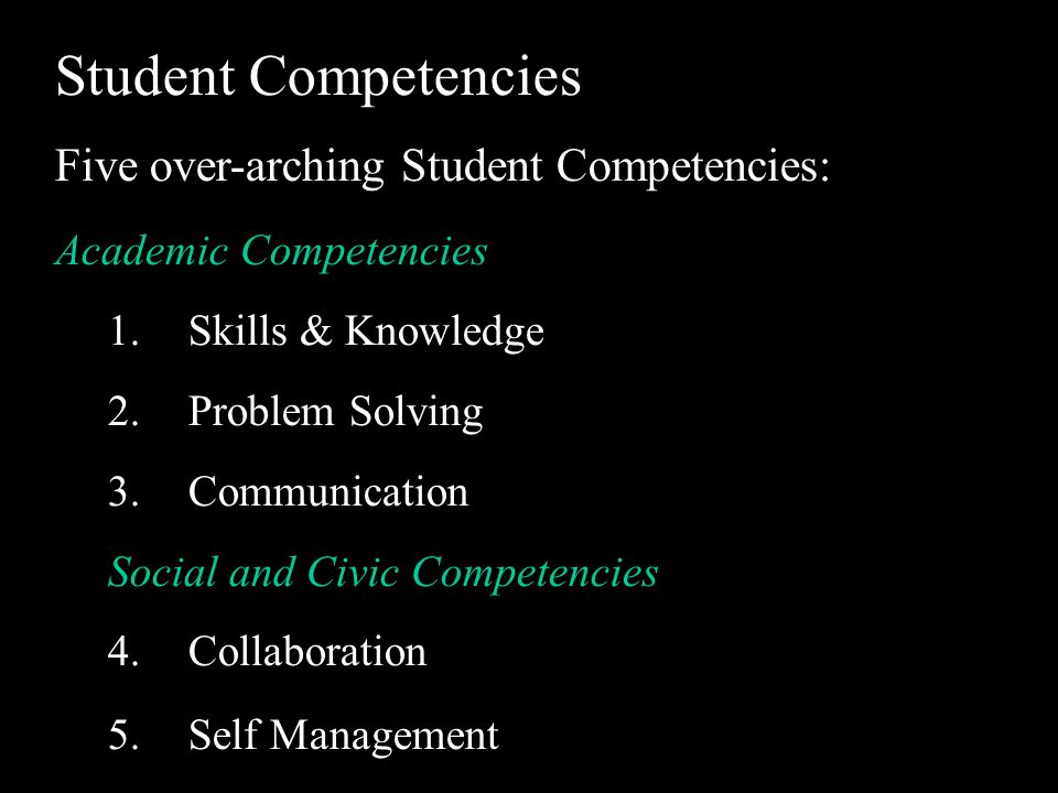 Student Competencies Five over-arching Student Competencies: Academic Competencies 1.Skills & Knowledge 2.Problem Solving 3.Communication Social and Civic Competencies 4.Collaboration 5.Self Management