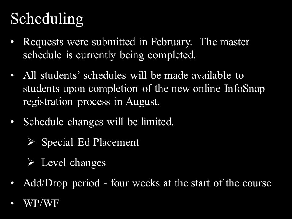 Scheduling Requests were submitted in February. The master schedule is currently being completed. All students' schedules will be made available to st