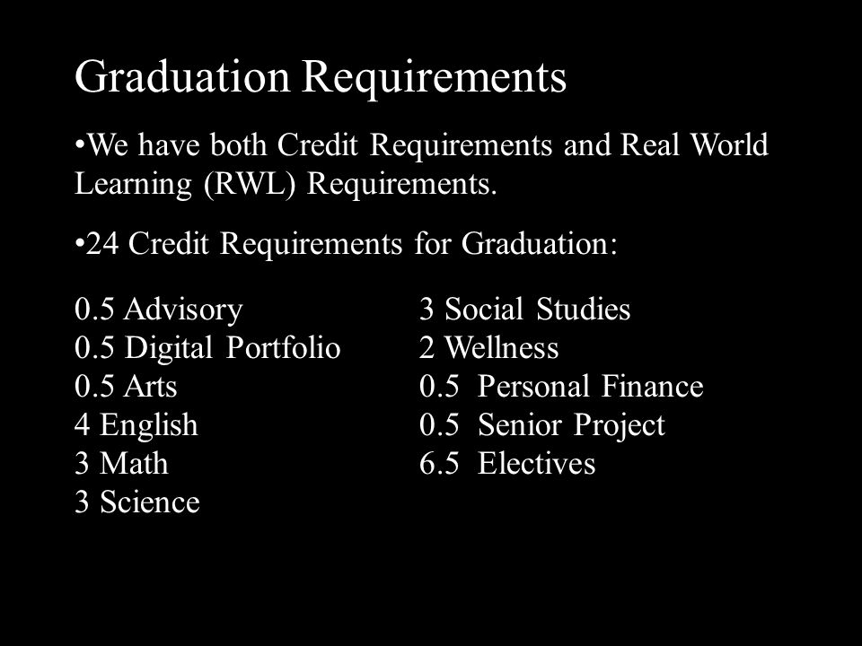 Graduation Requirements 80 hours of Real World Learning Hour Requirements  16 hours Career Exploration and Planning  16 hours Community Involvement and Service  8 hours Democracy in Action  8 hours Cultural Enrichment  32 hours School Activities – minimum of 8 hours in one co- curricular/athletic activity each year Hours begin to accrue the day a student leaves 8th grade.