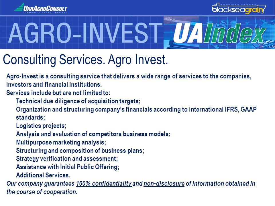 Consulting Services. Agro Invest. Agro-Invest is a consulting service that delivers a wide range of services to the companies, investors and financial