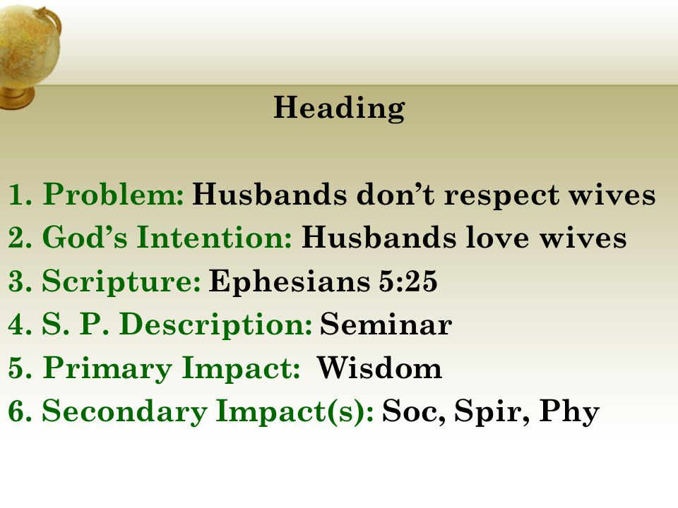 Heading 1. Problem: Husbands don't respect wives 2.