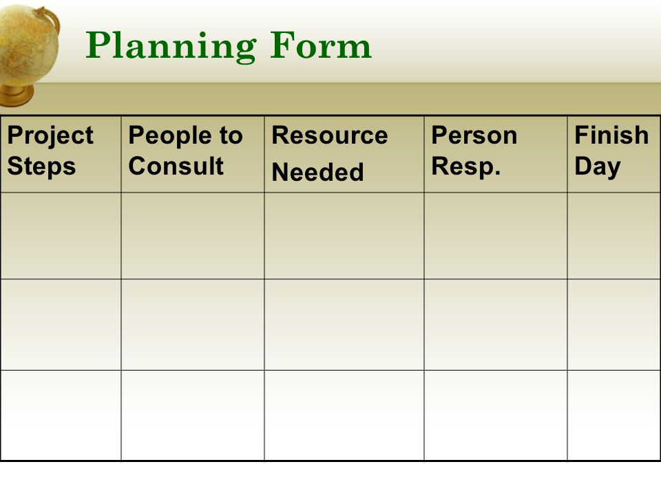 Planning Form Project Steps People to Consult Resource Needed Person Resp. Finish Day