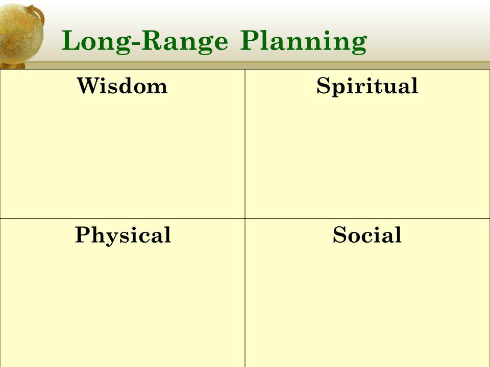 Long-Range Planning WisdomSpiritual PhysicalSocial