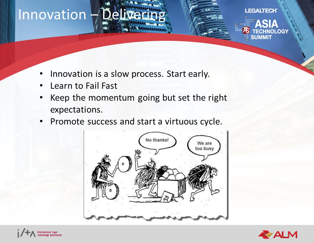 Fight the temptation to stay in your comfort zone Find your level of risk acceptance Innovation is a state of mind and a process – not a one- off Final Thoughts
