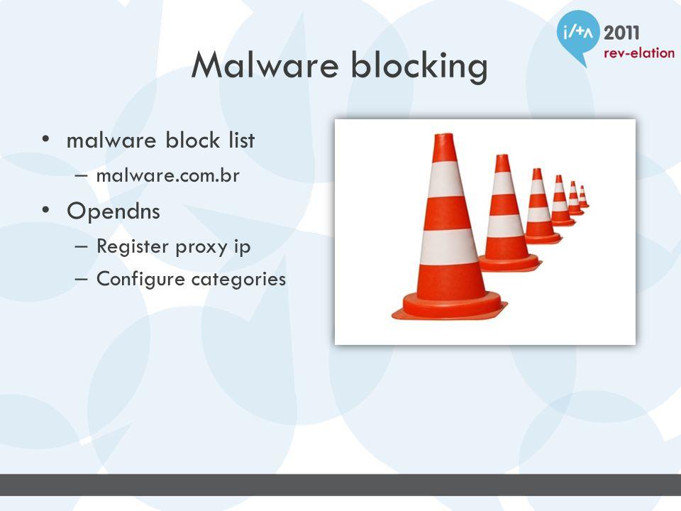 Malware blocking malware block list – malware.com.br Opendns – Register proxy ip – Configure categories