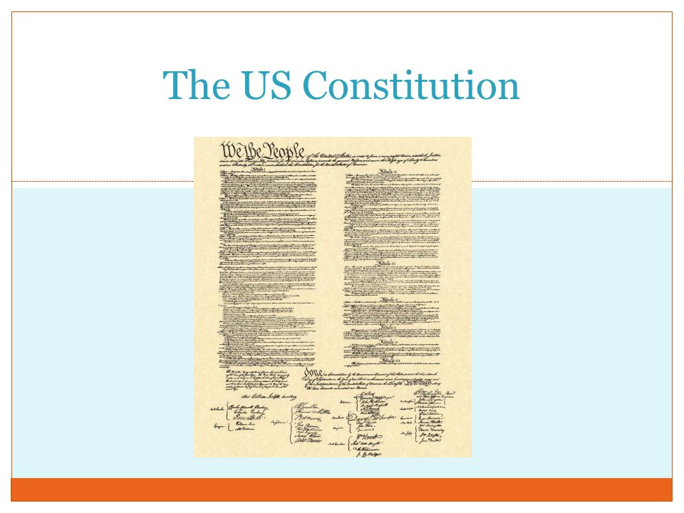 Constitution (cont.) Parts of the Constitutions  Preamble – Introduction  Article I – Legislative Branch  Article II – Executive Branch  Article III – Judicial Branch  Article IV – Relations among States  Article V – Amending the Constitution  Article VI – National Debt, Supremacy of National Law, and Oaths of Office  Article VII – Ratifying the Constitution