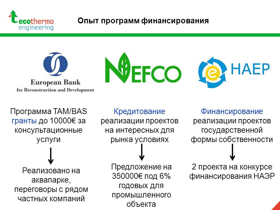 Опыт программ финансирования Программа TAM/BAS гранты до 10000€ за консультационные услуги Реализовано на аквапарке, переговоры с рядом частных компан