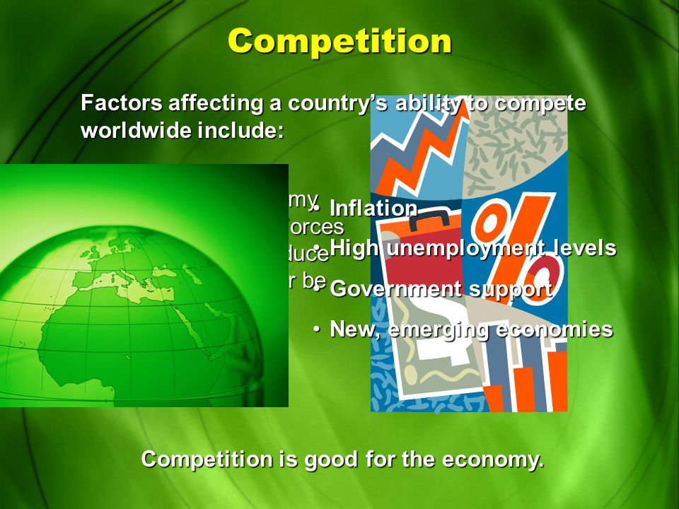 Competition Competition forces companies to keep prices low and produce better products. American automakers compete with car manufacturers in Japan,