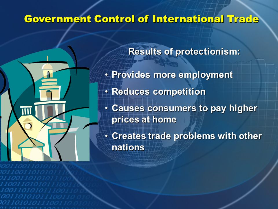 Government Control of International Trade International trade affects a country's economy. Imported products provide citizens with more choices and us