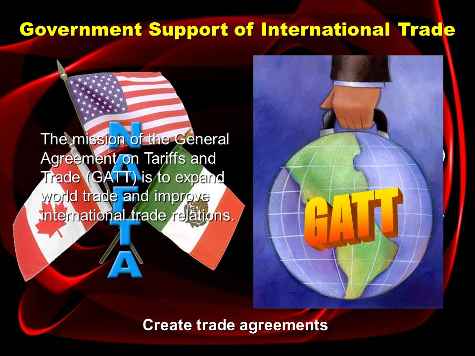 Government Support of International Trade Establish organizations The European Union has united its members into one economy.