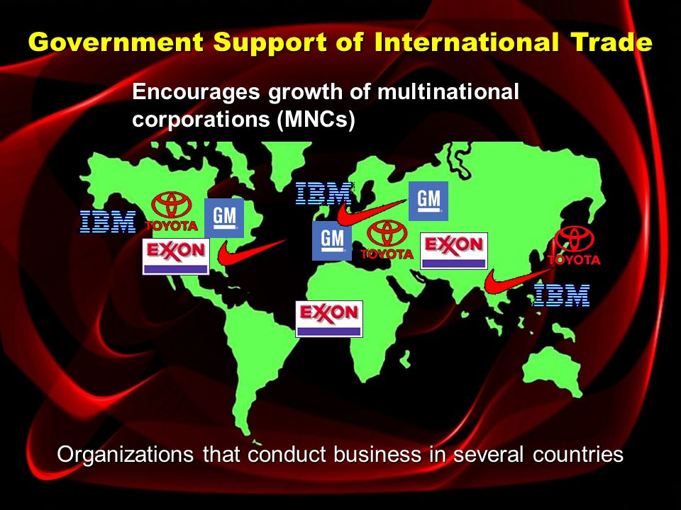Government Support of International Trade Use other methods of improving international trade relations: Trade centers: Offices and display rooms in ma