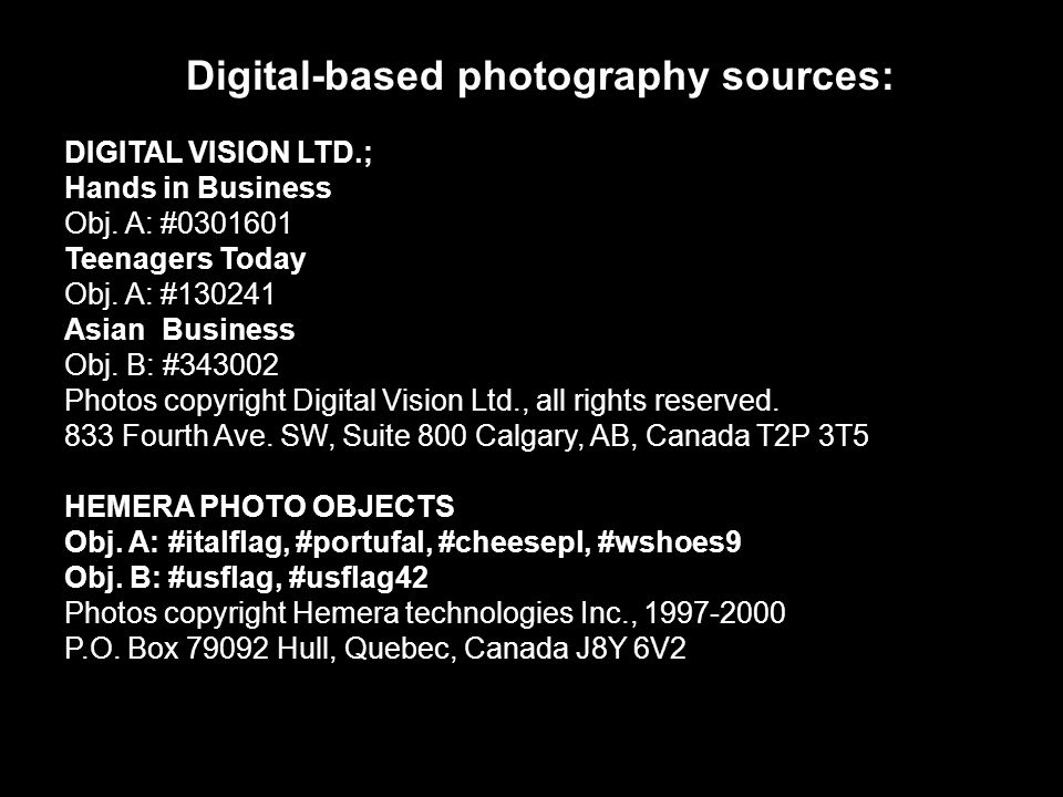 Digital-based photography sources: COREL CORPORATION People of the World Obj.