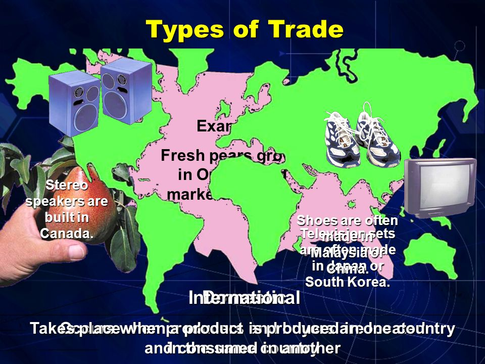 May be in the same country May be in the same country Often, in different parts of the world Often, in different parts of the world Why trade with som