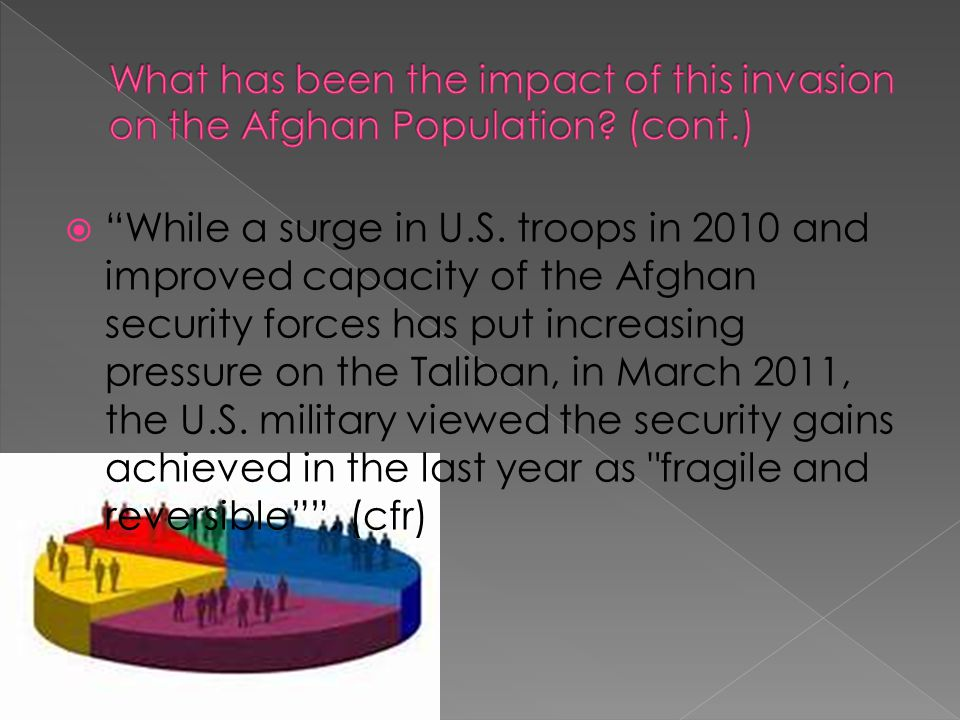  Afghanistan has made progress since the attack on 9/11  But it still face challenges like: preventing the return of Al-Quida, recovering from 3 decades of civil strife, along with rebuilding a destroyed physical, economic, and political infrastructure
