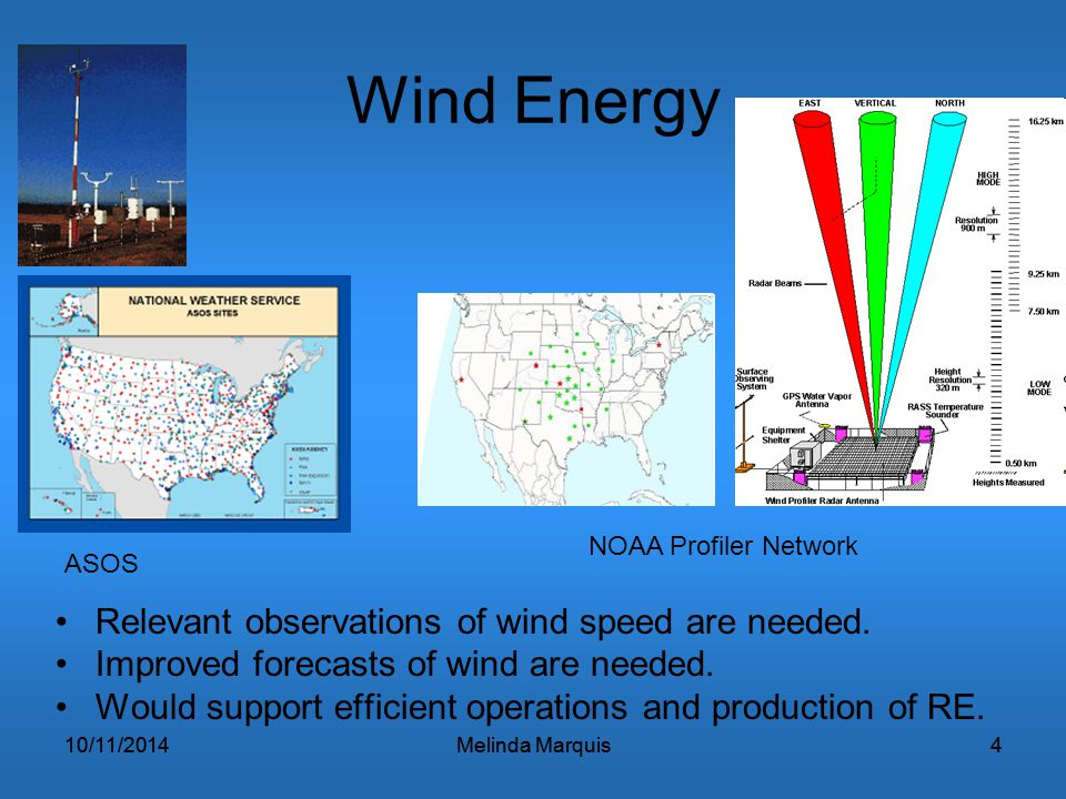 10/11/2014Melinda Marquis410/11/2014Melinda Marquis4 Wind Energy Relevant observations of wind speed are needed. Improved forecasts of wind are needed