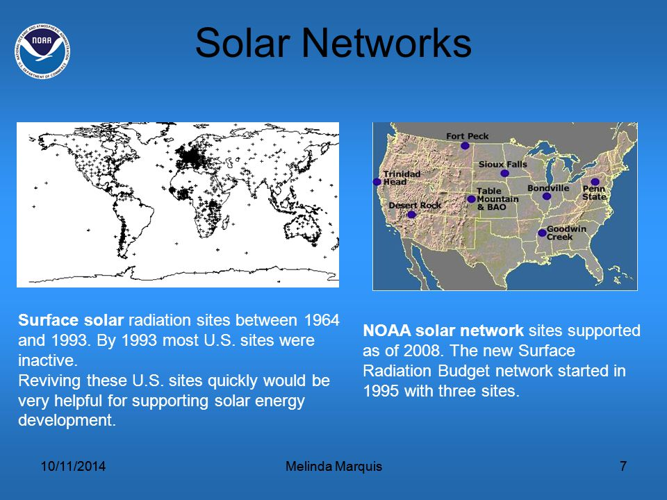 10/11/2014Melinda Marquis7 Solar Networks 10/11/2014Melinda Marquis7 Surface solar radiation sites between 1964 and 1993.