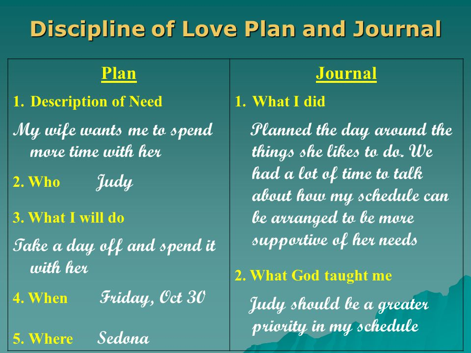 Discipline of Love Plan and Journal Plan 1.Description of Need My wife wants me to spend more time with her 2.