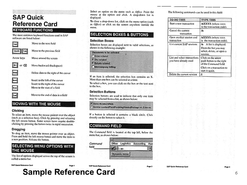 6 Sample Reference Card