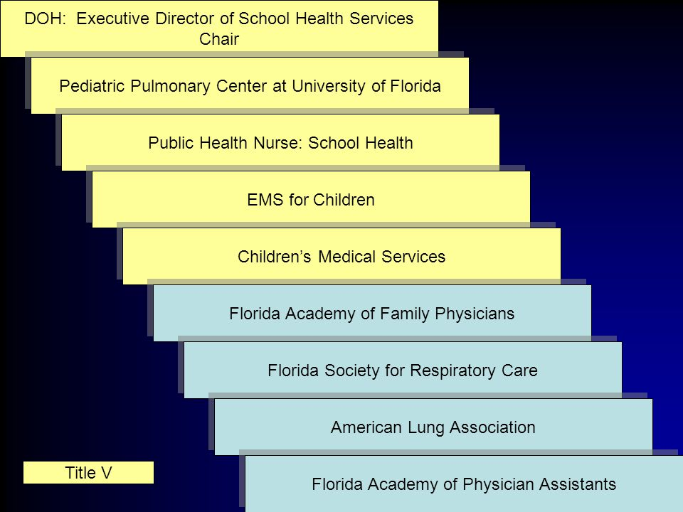 DOH: Executive Director of School Health Services Chair DOH: Executive Director of School Health Services Chair Pediatric Pulmonary Center at University of Florida Title V Public Health Nurse: School Health EMS for Children Children's Medical Services Florida Academy of Family Physicians Florida Society for Respiratory Care American Lung Association Florida Academy of Physician Assistants
