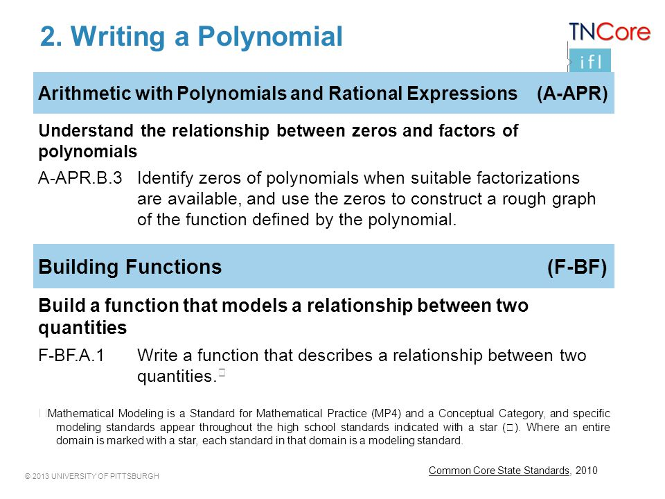 © 2013 UNIVERSITY OF PITTSBURGH 2. Writing a Polynomial Common Core State Standards, 2010 Arithmetic with Polynomials and Rational Expressions (A-APR)