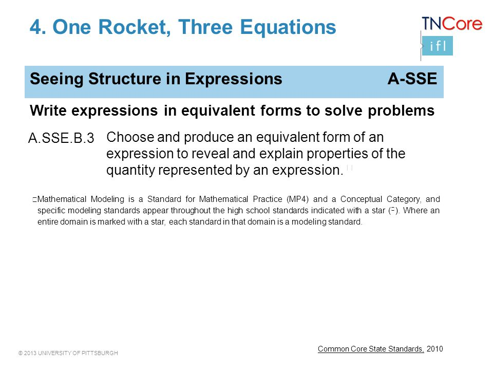 © 2013 UNIVERSITY OF PITTSBURGH 4. One Rocket, Three Equations Common Core State Standards, 2010 Seeing Structure in Expressions A-SSE Write expressio