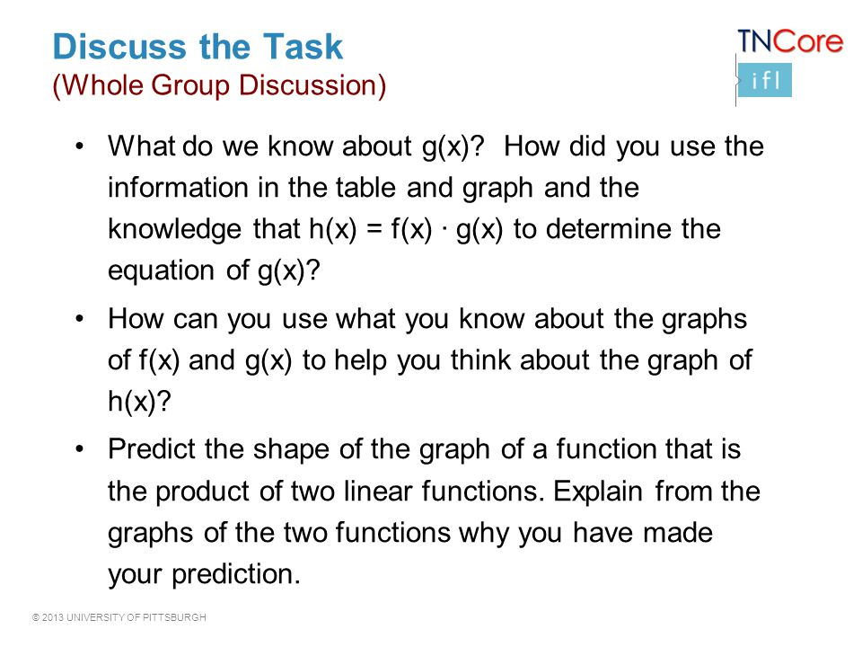 © 2013 UNIVERSITY OF PITTSBURGH Discuss the Task (Whole Group Discussion) What do we know about g(x).