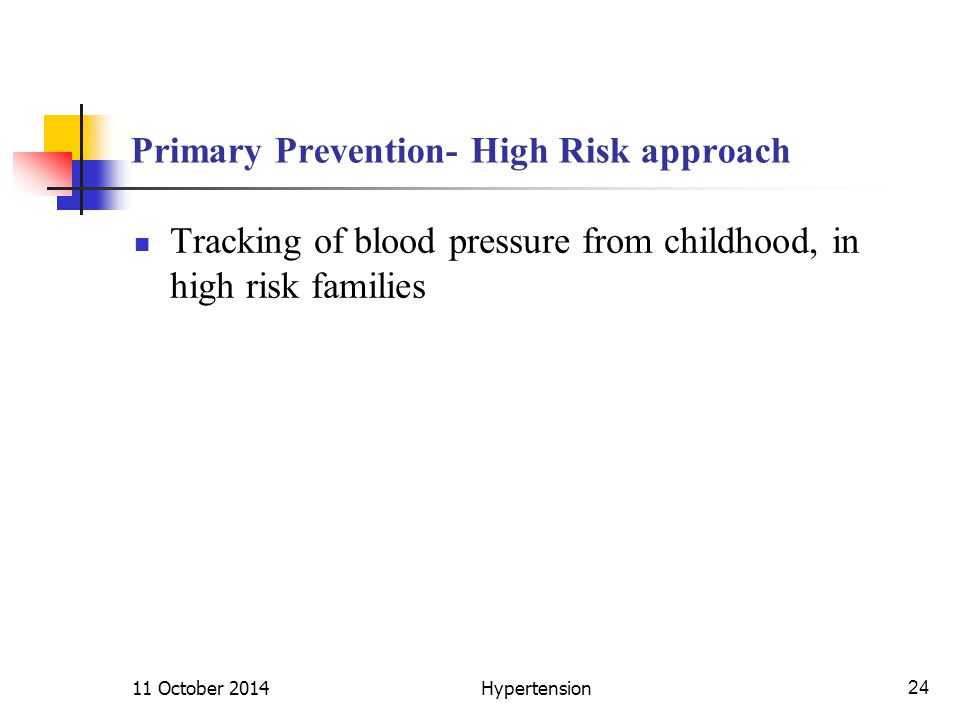 Primary Prevention- High Risk approach Tracking of blood pressure from childhood, in high risk families 11 October 2014Hypertension24