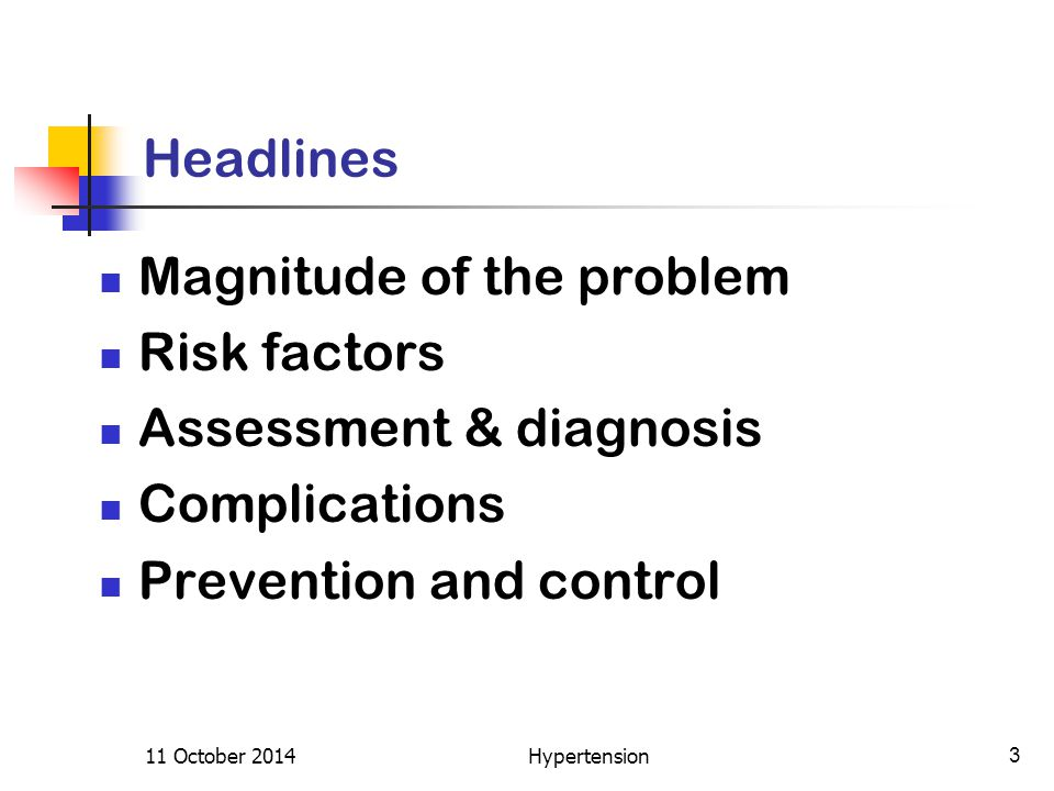 Headlines Magnitude of the problem Risk factors Assessment & diagnosis Complications Prevention and control 11 October 20143Hypertension