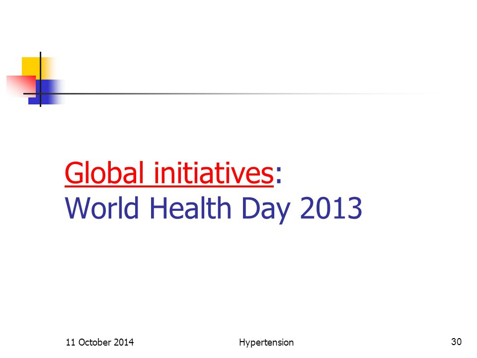 Global initiativesGlobal initiatives: World Health Day 2013 11 October 2014Hypertension30