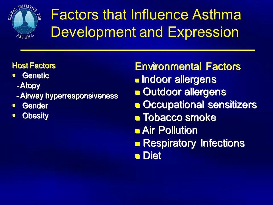 Factors that Influence Asthma Development and Expression Host Factors  Genetic - Atopy - Airway hyperresponsiveness  Gender  Obesity Host Factors 