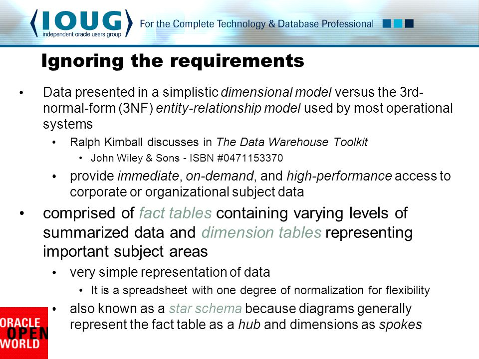 Data presented in a simplistic dimensional model versus the 3rd- normal-form (3NF) entity-relationship model used by most operational systems Ralph Kimball discusses in The Data Warehouse Toolkit John Wiley & Sons - ISBN #0471153370 provide immediate, on-demand, and high-performance access to corporate or organizational subject data comprised of fact tables containing varying levels of summarized data and dimension tables representing important subject areas very simple representation of data It is a spreadsheet with one degree of normalization for flexibility also known as a star schema because diagrams generally represent the fact table as a hub and dimensions as spokes Ignoring the requirements