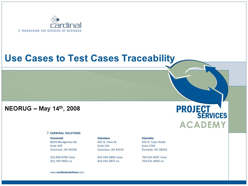 Use Cases to Test Cases Traceability © 2008 Cardinal Solutions Group 22 Test Case Creation Process Create a new requirement type as Scenarios Trace Identified Scenarios to Use Case Business Need Feature 1 Feature 2 Use Case 1 Use Case 2 Use Case 3 Scenario 1 Scenario 2 Scenario 8....