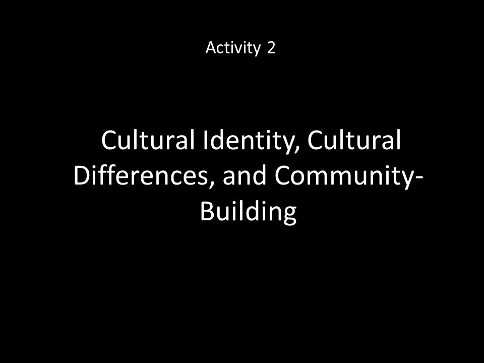 Cultural Identity, Cultural Differences, and Community- Building Activity 2