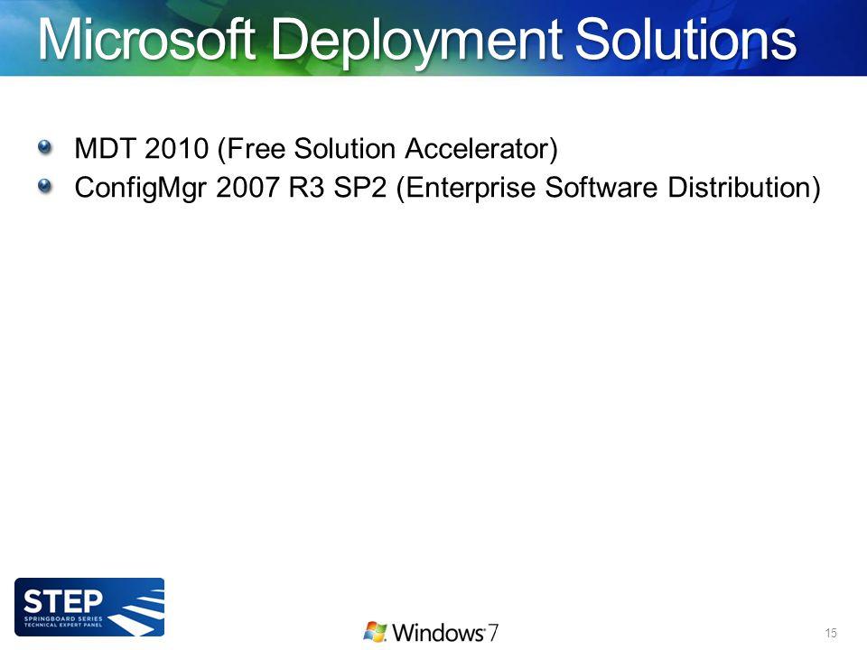 Microsoft Deployment Solutions MDT 2010 (Free Solution Accelerator) ConfigMgr 2007 R3 SP2 (Enterprise Software Distribution) 15