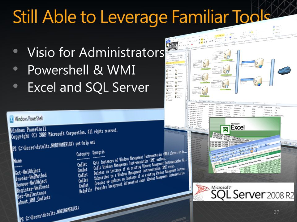 Still Able to Leverage Familiar Tools Visio for Administrators Powershell & WMI Excel and SQL Server 37